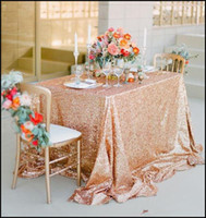 Wholesale Gold Tablecloths Wedding - Champagne Rose Gold Sequined Tablecloth Wedding Party Decorations Vintage Sparkly Table Cloth Custom Made Bridal Accessories High Quality