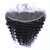 Wholesale Deep Wave Lace Frontals - Brazilian Deep Wave 13x4 Ear To Ear Pre Plucked Lace Frontal Closure With Baby Hair Remy Human Hair Free Part Top Frontals