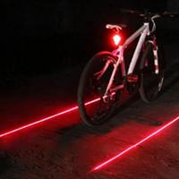 piloto de bicicleta led trasero al por mayor-Luces de ciclismo para bicicleta a prueba de agua 5 LED 2 láseres 3 modos Luz trasera de bicicleta Luz de advertencia de seguridad Luz de bicicleta trasera Lámpara de cola
