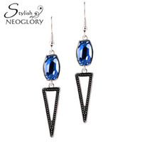 Blue special elements - MADE WITH SWAROVSKI ELEMENTS Crystal Special Long Drop Dangle Earrings Fashion Jewelry Neoglory For Women New Gifts