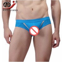 Wholesale Mens Sex Briefs - Mens Mesh Sexy open front Underwear Briefs Movable Sheath Pouch Penis Lift Jockstrap WJ Brand Sex Bulge Cuecas U conve Bag Shorts Bragas
