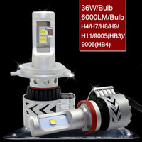 Wholesale One Bulb Led - Car LED Headlight 9005 9006 HB3 HB4 72W 12000 lumen high low beam led headlight bulb conversion kit front headlamps all in one