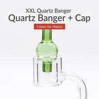 Wholesale Glasses Female - Thermal XXL Quartz Banger + Cap Double Layer Quartz with 10mm 14mm 18mm Male   Female Clear Joint