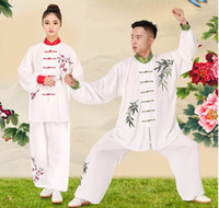 Wholesale Peony plum tai chi suits men and women competition clothing spring and autumn embroidery tai chi practice performance clothing embroidery
