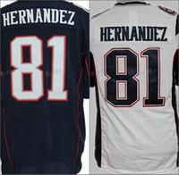 Wholesale Cheap Jersey Good - Mens 81 Aaron Hernandez Jersey Blue White Cheap Good Quality Aaron Hernandez Jerseys Sports Shirt Uniform