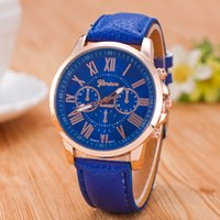 Wholesale jelly watches for women - hot geneva sale watch unisex mens womens roma dial leather quartz watches jelly candy wrist watches for women mens