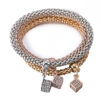 Wholesale Rose Gold Pendent - Silver Gold Rose Gold Three Colors Bracelet With Little Bling Cube Pendent For Women And Girls By Hcish Jewelry FSH285