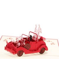 Wholesale Wedding Anniversary Invitation Cards - (10 pieces lot)Valentines Day Gifts Wedding Invitation Cards Customizable Handmade Vintage Wedding Car 3D POP Up Greeting Cards