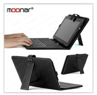 Wholesale- Black Portable USB Keyboard Faux Leather Case para 10 polegadas 10.2 polegadas Tablet PC
