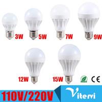 Wholesale Led Corn Globe - E27 LED bulb light 3W 5W 7W 9W 12W 15W b22 led light SMD2835 110V 220V Energy saving Super Bright bulb lamp