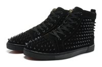Wholesale Spiked Shoes Red Sole - With Box Top Red Sole Shoes France Top Brand Red Bottom Men Rivets Shoes Lou Spikes Genuine Leather Party Wedding Casual Sneakers