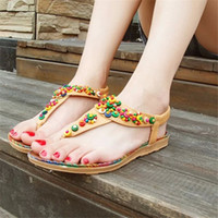 Wholesale National Adhesives - fashion flat summer sandals 2017 for women,ladies sandals photo ,sandals shoes women 2017,National wind bead sandals