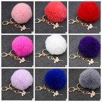 Wholesale Metal Charms Pendants Bow - Ballet Girl Plush Ball keychain Fur Pom Pom Bow Keychain Keyring Fluffy Rex Rabbit Fur Ball Key Chain Handbag Pendant Charm KKA2719