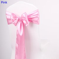 Wholesale Satin Bows For Chairs - Pink Colour satin sash chair high quality bow tie for chair covers sash party wedding hotel banquet home decoration wholesale