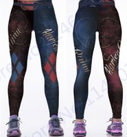 Wholesale Woman Batman Costume - Print Harley Quinn Yoga Pants Women Costume The Batman Harley Quinn Running Leggings Blue Red Diamond Fitness Tights High Waist