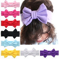 Wholesale Princess Baby Hair Band - 11 Colors Baby Girls Bow Headbands Children Soft Bowknot Hairbands Kids Hair Accessories Hair band Princess Headdress Factory Sale KHA166