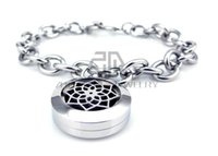 Barato Pulseiras Jóias Flor De Lótus-Round Steel Color Lotus Flower Desgin (20mm) com Circle Band Aromaterapia / Óleos essenciais Lockets Pulseira Jóias