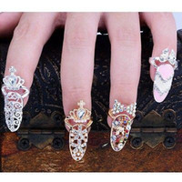 Wholesale Heart Rhinestones Nail Art - Colorful Crown Crystal Finger Nail Art Ring Jewelry Nail Finger knuckle Rings tail ring Butterfly knot crown protect nail alloy Accessory