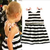 Wholesale Childrens Clothing For Girls - 2018 Baby Childrens Dresses for Clothing Bow Striped Toddler Princess Dress Fashion Girl Infant Kids Short Sleeve Dresses Boutique Clothes