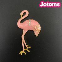 Wholesale flamingo brooch resale online - 50pcs Fashion Summer Jewelry Gold Tone Flat Back Flamingo Bird Brooches For Women Pink Enamel Rhinestone Pin Brooch