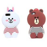 Wholesale Brown Cony Bear - New arrival 3D Cartoon Brown Bear and Cony Rabbit Back Cover For Iphone 7 6 6s plus 5 5s SE Soft Silicone Cover OPPBAG