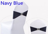 Wholesale Chair Sashes For Sale - Navy blue colour Crown buckle lycra sash for wedding chairs decoration spandex band stretch bow tie lycra ribbon belt on sale