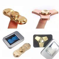 Wholesale Copper Desk - 100% Pure Copper EDC Toys Triangular Hand Spinner Fingertip Gyro Fidget Spinner Decompression Anxiety Torqbar Brass Handspinner EDC Desk Toy