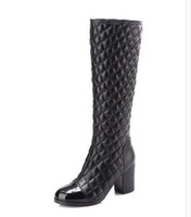 Frauen Low-Heel Diamond Lattice Reißverschluss Stiefel Winter Classic Luxus Fashion Brand echtes Leder Damen Schaffell sexy Kaschmir warme Stiefel