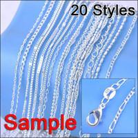 925 tags großhandel-Halsketten Ketten Schmuck Auftrag Mix 20 Styles Echtes 925 Sterling Silber Link Halskette Set Ketten + Karabiner 925 Tag (20 Teile / los)