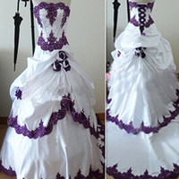 Wholesale Bandage Wedding Ball Gown - Purple Wedding Dresses Ball Gown Strapless 2017 Bandage Real Picture Bridal Gowns Custom Made In China