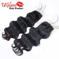 Wholesale Baby Tangle - Brazilian Body Wave Virgin Hair No Tangle No shedding Uglam Hair Lace Closure Free Part with Baby Hair Natural Color Free Shipping