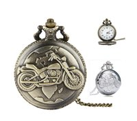 Wholesale Silver Mens Pocket Watches - New unisex mens womens Retro Silver FOB pocket watch moto motorcyle Motorbike necklace chain alloy pendant gift quartz watches