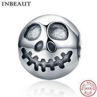 Barato 925 Contas De Caveira-INBEAUT Hot Sale 100% 925 Sterling Silver Ghost Face Skull Head Beads Charm Fit Pandora Bracelet Jóias Halloween Gift