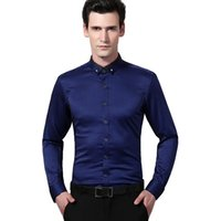 Großhandel - Frühling 2017 Luxus Herren Wave Streifen Kleid Shirts Hochwertige Slim-Fit Langarm Diamant Wölbung Einzigartiges Button-Down-Shirt