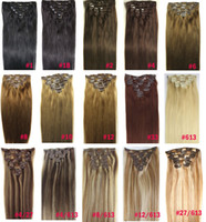 "Wholesale 24 Inches Hair Clips - ZZHAIR 16""-32"" 100% Brazilian Remy Human hair Clips in on Human Hair Extension 8pcs set Full Head 100g 120g 140g"
