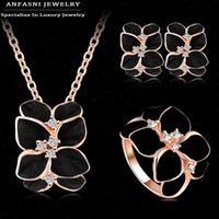 Wholesale Earring Necklace Ring Gold - ANFASNI Jewelry Set Rose Gold Plate Austrian Crystal Enamel Earring Necklace Ring Flower Set Choose Size of Ring ST0002-A