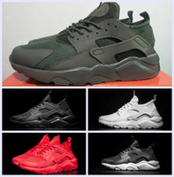 Wholesale Cheap Red Flats - Cheap Huarache IV Ultra Running shoes Huaraches trainers for Mens Women Black Red Dark green White shoes Triple Black Huraches sneakers