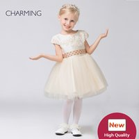 Wholesale Christmas Outfits Girls Pageants - Kids outfits Designer kids dresses Flower girl dress ivory high quality Pageant dresses for girls China suppliers