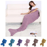 7 colores Mermaid Tail Sleeping manta con patrón de pescado-escala - All Seasons tricotado manta bolsa de dormir 190x90cm Regalo de Navidad