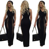 Wholesale Tight Maxi Skirts - New style bandage cap hollowed-out nightclub dress Sexy metallic chicken eyes bind Tight pencil skirt Bow lacing bandage vest Casual Dres