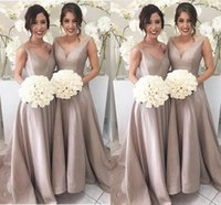 Wholesale party wedding floor long bridesmaid dresses for sale - 2017 Simple Elegant Bridesmaid Dresses A Line Sleeveless V Neck Floor Length Sweep Train Garden Wedding Guest Party Gowns Under