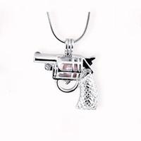 Wholesale Charm Lockets Design - New Design Gun Cage Pendant, Pistol shape Pearl Gem Beads Locket Pendant Mounting, DIY Jewelry Charms Accessory