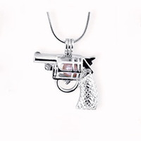 esferas de pistolas venda por atacado-New Design Gun Gaiola Pingente, forma de Pistola Pérola Gem Beads Medalhão Pingente de Montagem, Jóias DIY Encantos Acessório