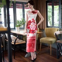 Casual Dresses oriental wedding gowns - Long Silk Cheongsam Wedding Qipao Dresses Chinese Traditional Dress Robe Chinoise Flowern Qi Pao Vestido Oriental Evening Gown