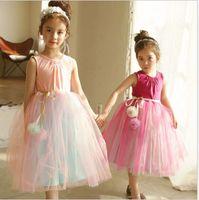 Wholesale Childrens Ball Dresses - Costume Pettiskirt Girls Dresses Princess Dresses Tutu Tulle Dress Fashion Childrens sundress Lace long Formal Dresses Kids Clothing A836