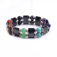 Wholesale Pave Wrap - 2017 Natural stone bracelet Double crystal bracelet with full pave crystal wrapped bracelets with full crystal