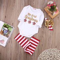 Wholesale Toddler Girl Romper Long Leg - 3Pcs Kid Toddler Outfit White Romper+ Striped Leg Warmer+Headband Baby Clothes My First Christmas Red Little Windmills 0-24M Santa Gift
