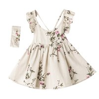 Wholesale Kids Hair Ruffles - Girls dresses with hair band children fly sleeve backless princess gilrs cotton linen falbala vest dress 2017 kids printed clothes T2176