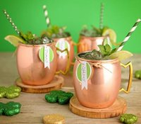 Wholesale Copper Drink - Moscow Mule Copper Plated Mug Cup Stainless Steel Hammered Copper Mug Drum Cocktail Drink Cups 50PCS KKA1642