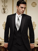 Reference Images Tuxedos Three-piece Suit New Arrivals Two Buttons Black Groom Tuxedos Notch Lapel Best Man Groomsman Men Wedding Suits Bridegroom (Jacket+Pants+Tie+Vest) NO:888